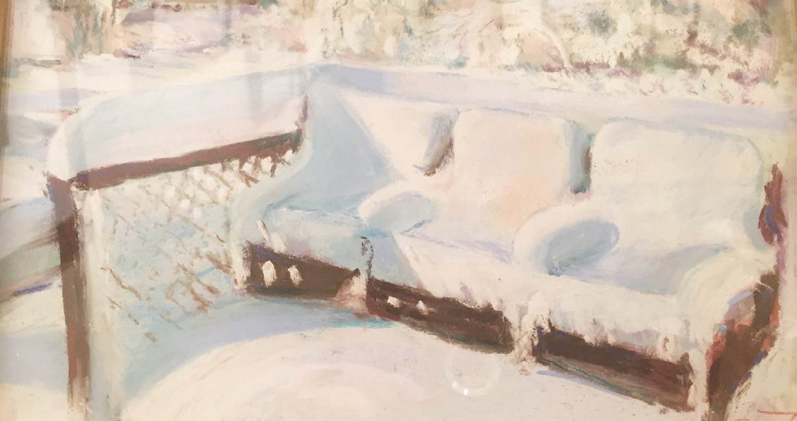 "Ruth Jensen paints a world blanketed in white in ""The Morning After."""